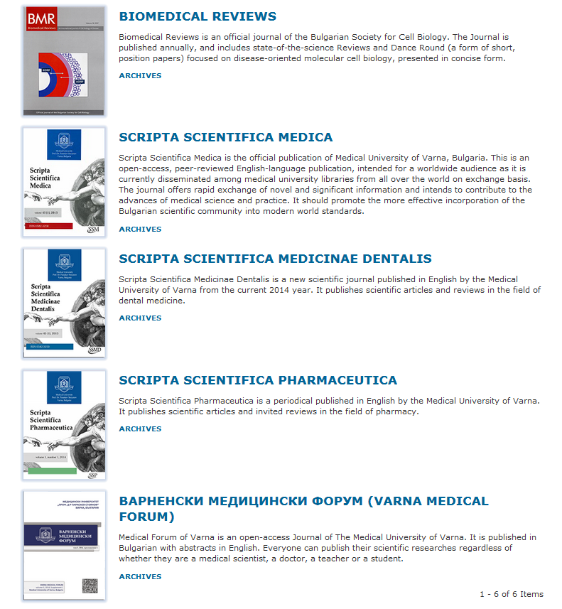"""Varna Medical Forum"" Has Been Added to the Online Scientific Journal Publishing System of MU- Varna"