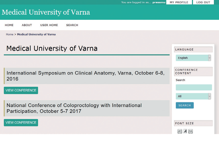 """Scientific conferences"" – A New Online Platform of Varna Medical University Press"